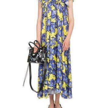 ONETOW balenciaga poppy print cap sleeve midi dress 2