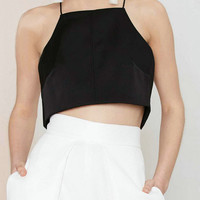 Black Halter Crop Top with Open Back