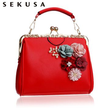 SEKUSA  Women Flower Evening Bag Pu Fashion Small Day Clutch With Chain Shoulder Handbags Colorful Beaded Summer Evening Bag
