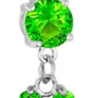 14g Surgical Steel Green Lucky Four Leaf Clover Jeweled Dangle Belly Button Ring
