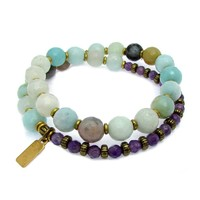 Communication and Healing, Amazonite and Amethyst 27 Bead Wrap Mala Bracelet