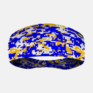 Digital Camo Yellow Blue White Headband