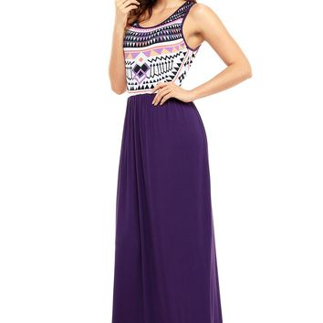Chic Aztec Print Sleeveless Holiday Purple Maxi Dress