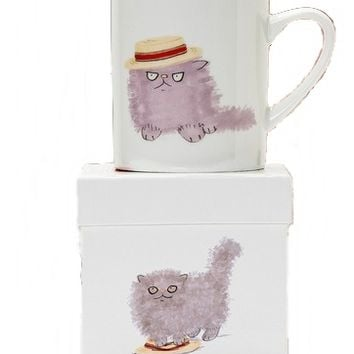 Fluffy/Boater Cat Mug - The Afternoon