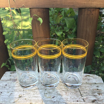 3 RETRO yellow striped frosted tall tumblers, retro bar cart glasses, retro glassware, yellow tri -striped tall coolers, Mid century glasses