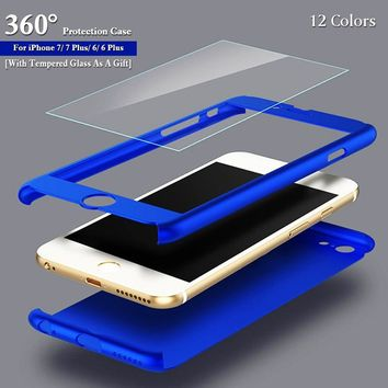 360 Degree Full Protection Phone Case Cover for IPhone 8/8Plus/7/7Plus/6/6 Plus with Tempered Glass As A Gift