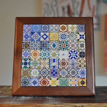Portugal Ceramic Tile Coaster Set Artwork Trivet Hot Plate Pot Stand Plant Tile Coasters Splashback Kitchen Decor Tile Interior