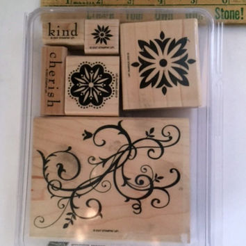 Stampin Up Baroque Motifs Set of 6 Wood Rubber Stamps Flowers Fleur Wooden Embossing Scrapbooking Supplies Mounted Case
