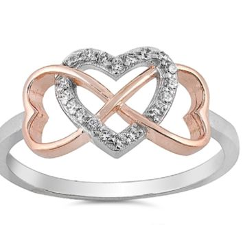 Solid 925 Sterling Silver Infinity Hearts Clear AAA+ CZ Ring
