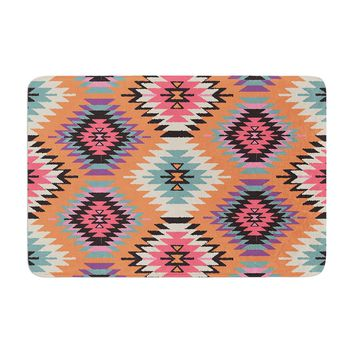 "Amanda Lane ""Southwestern Dreams"" Orange Pink Memory Foam Bath Mat"