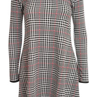 Ashleigh Long Sleeve Dog Tooth Check Print Swing Dress in Black