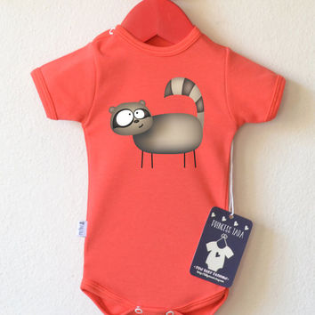 Cute Infant Outfit With Raccoon Print. Baby Girl or Baby Boy Romper. Choose Your Color. Trendy Baby Clothes.