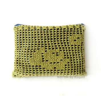 Green Clutch in Denim and Crochet, woman handmade purse, womens accessories, boho clutch, gifts for her