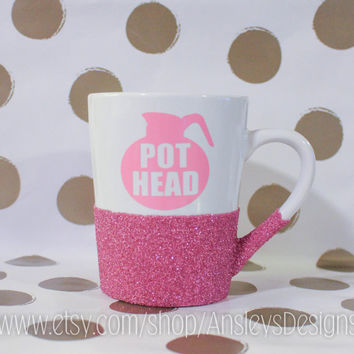 "Coffee ""POT HEAD"" Mug! With or Without GLITTER!"