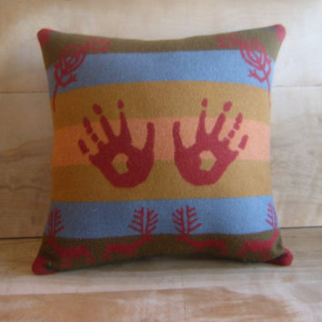 Pendleton Wool Pillow Handprints & Antlers by RobinCottage on Etsy