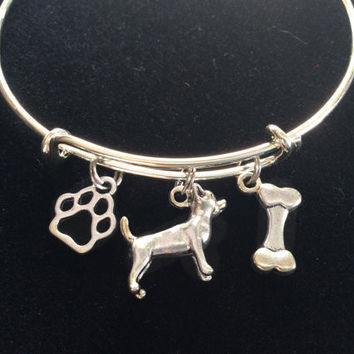 Chihuahua Dog Charm on a Silver Expandable Adjustable Bangle Bracelet Double Sided Charms Meaningful Dog Lover Gift