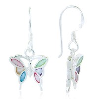 925 Sterling Silver Multi-Colored Mother of Pearl Shell Butterfly Dangle Hook Earrings