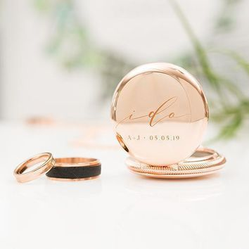 Personalized Pocket Wedding Ring Holder With Chain - I Do Etching Gold (Pack of 1)