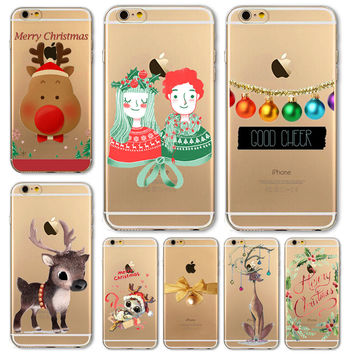Christmas Cover For iPhone Cute Soft Phone Case 6 6S 5 5S SE 6Plus 6S Plus 5C 4 4S