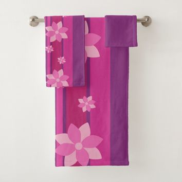 Pink Flowers Bath Towel Set