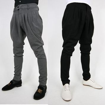 Free shipping autumn loose trousers tide male Korean men's breeches British fashion men harem pants big yards long pants feet