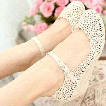 ed994c6eac03 New Women s Girl Jelly Hollow Flower Beach Sandals Rain Shoes Heels Ankle  Strap