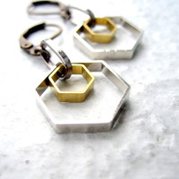 Geometric Earrings Hexagon Earrings Mixed Metal Earrings