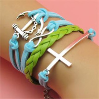 Infinity Anchors Cross Leather Cute Charm Bracelet Blue Silver