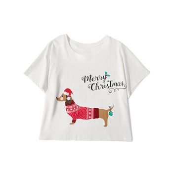 Merry Christmas Dachshund Dog T-Shirts - Women's Crop Tops