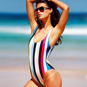 DCCK7XP Sexy Hot One Piece Rainbow Stripe Swimwear Bath Suit