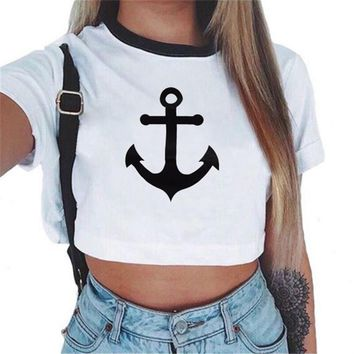 2017 new fashion brand summer style anchor printed t shirt women tops t shirt o neck cotton tee