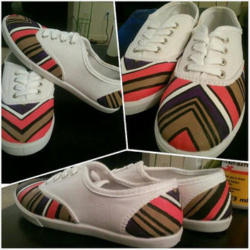 Chevron Design Womens Hand Painted Custom TOMS VANS CONVERSE or keds shoes