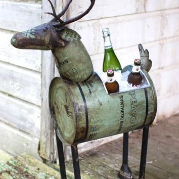 Reclaimed Green Metal Deer Wine Cooler Or Planter