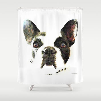 French Bulldog Art - High Contrast Print by Sharon Cummings Shower Curtain by Sharon Cummings