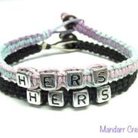 Hers and Hers Bracelets for LGBT Couples, Pastel and Black Hemp Jewelry
