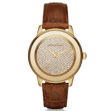 Kinley Pavé Gold-Tone and Leather Watch | Michael Kors