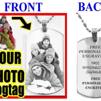 Personalize Custom Engraved Pendant Logo Symbol - Military Dog Tag, Luggage Tag Metal Chain Necklace