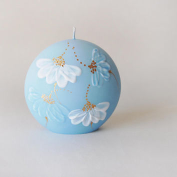 Candle Discus Daisy On Pastel Blue Hand Painted Hand Made Pastel Candle
