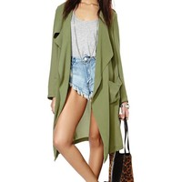Rain or Shine Draped Jacket - Olive