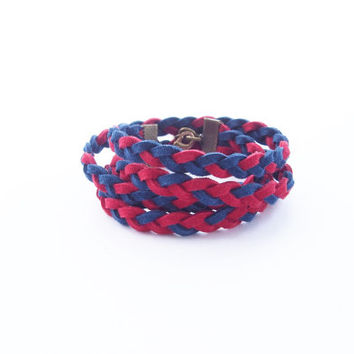 friendship bracelet - wrap bracelet - suede leather bracelet - braided bracelet - layering bracelet - four stand bracelet