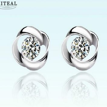 Silver Plated Floral Stud Earrings With Cubic Zirconia Flash Diamond #107