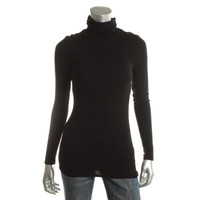 Three Dots Womens Jersey Ribbed Turtleneck Top