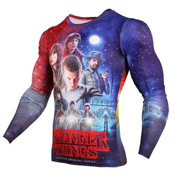 New Stranger Things 3D Print T Shirt Men Fashion Anime Funny Long Sleeve T Shirts Compression Shirt Character Hipster Tops Tees
