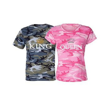 H&R Printed Camouflage KING QUEEN Female T Shirt Couple T Shirt for Lover Men Women Tops Family Matching Clothes 2018 Summer