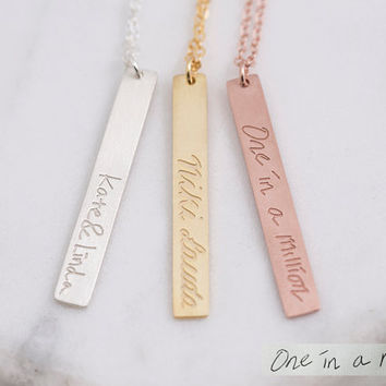 Handwriting Bar Necklace,Vertical Bar,Handwritten Signature,Drawing, Bridesmaid Gift, Gift for Her, Gold, Rose Gold, Silver,LUVINMARK,LVMKA2
