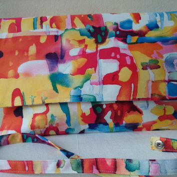 Pouch in satin, arty multicoloured...  Glamour and style, casual and trendy, Hand made in France