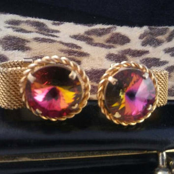 Vintage Big Red Rivoli Watermelon Stone Rhinestone Cuff Links - Statement Jewelry - Old Hollywood Glam - High End Gift For Him