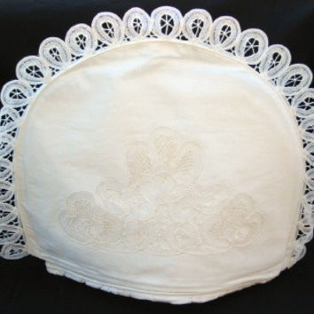 White Battenburg Lace Domed Tea Cozy with Removeable Liner