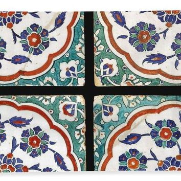 An Ottoman Iznik Style Floral Design Pottery Polychrome, By Adam Asar, No 14 - Bath Towel