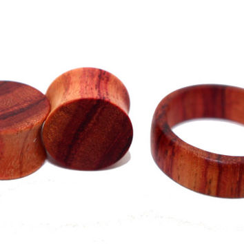 Tulipwood Ear Plugs & Ring Set by WoodRecycled on Etsy